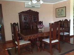 Comedor en madera de caoba cubana y nogal negro madera for Muebles espanoles modernos