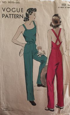 Vintage Sewing Pattern 40s Vogue 9070 Overalls Coveralls