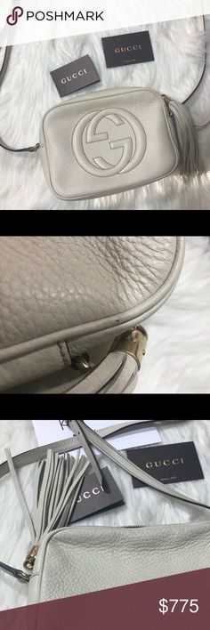 Gucci cream soho disco bag Excellent condition. Only carried a few times. Minor mark on the leather (pictures). No dust bag. No trades. Open To reasonable offers. 🅿️🅿️ and Ⓜ️ and  e bay! Gucci Bags Crossbody Bags