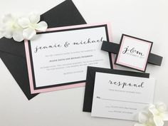 Modern Script Wedding invitations, Elegant Calligraphy Classic Flowy Script Invites, Black White and Pink, Dusty Rose, Blush Pink Belly Band by KimKimDesigns on Etsy https://www.etsy.com/listing/519791041/modern-script-wedding-invitations