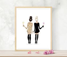 Blonde and brunette friends with wine, best friend gift, gift for friend, galentine's day gift, fashion illustration, blonde and brunette Birthday Gifts For Best Friend, Best Friend Gifts, Gifts For Friends, Blonde And Brunette Best Friends, Change Hair Color, Wine Wall Art, Roommate Gifts, Drawings Of Friends, Bar Art