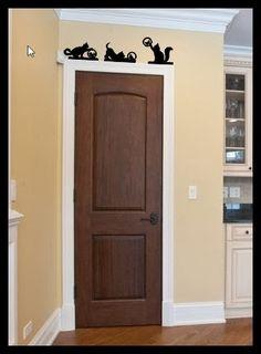 Wanddecoratie boven deur kat set van 3