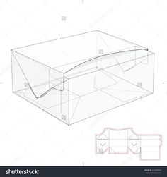 Rectangular Fast Food Box With Die Line Template Stock Vector Illustration 316989890 : Shutterstock