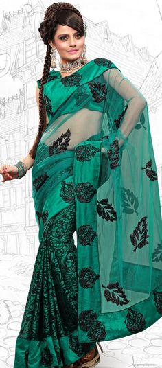 $48.18 Greenish Blue Brasso and Net Latest Fashion Saree 16709 With Unstitched Blouse