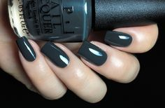 Nein! Nein! Nein! OK Fine! is a very dark grey creme with a very strong green tint. Depending of the lighting, it will look either grey or green but never black. Formula was really nice and required 2 coats for full opacity.