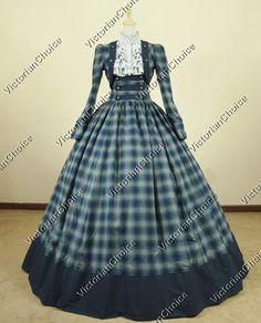 Civil War Victorian Cotton Blends Tartan Ball Gown Dress Reenactment
