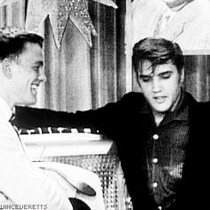 """Elvis on Wink Martindale's TV show """"Teenage Dance Party"""", June 16, 1956 (showing his watch and ring)"""