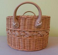 Round wicker sewing craft makeup basket w handles multi purpose storage ♥