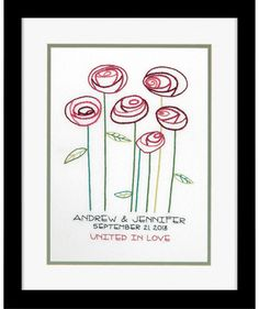 Simple Roses Wedding Record - Crewel Embroidery Kit