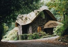 rustic wood and thatch cottage in the woods near Blaise Castle in Bristol, England Fairytale Cottage, Storybook Cottage, Romantic Cottage, Forest Cottage, Cute Cottage, Rustic Cottage, Wooden Cottage, Rustic Cabins, Log Cabins