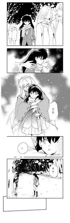 Kagome dreams of Inuyasha with his arms around her in his embrace as she walks in the snow in the city of Tokyo Japan