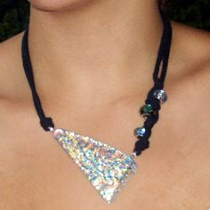 assymetric dichroic necklace with beads by papernclay on Etsy,