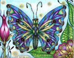 https://flic.kr/p/cmWZV9 | Butterfly flutterbye | Hi Everyone! :)  have been away so long the uploader has changed LOL, so hope this all works out o.k., have missed all of you so much ... had my hands in splints & had to do therapy for awhile but I'm finally back to my drawing & tangling! Hope you have all been well ... will have alot to tell you about very soon! ... this is 5x5 done with Prisma fineline markers, General Kimberly's watercolor pencils & Kuretake Pastel Chalk Writers ...