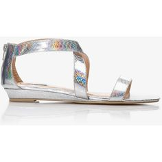 b296834f1d8 FOREVER 21 Holographic Mini-Wedge Sandals (69 MYR) ❤ liked on Polyvore  featuring