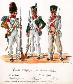 Italian division in Spain, Line Infantry, Grenadier Corporal & Line Infantry Voltigeur & Fusilier Kingdom Of Naples, Kingdom Of Italy, Italian Empire, Italian Army, Independence War, National History, Army Uniform, French Army, Napoleonic Wars