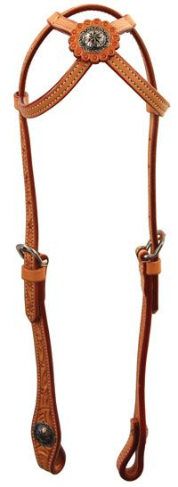 Saddles Tack Horse Supplies - ChickSaddlery.com Buffalo Leather Of The Rockies Cross Crown Headstall With Concho