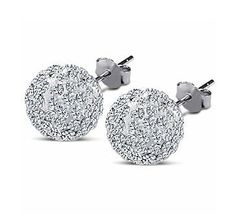 Swarovski Ball Stud Sterling Silver Earrings. 6mm Each 2 Carat Total Weight $0.01 @ Amazon