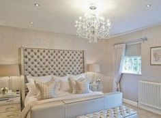 Glam bedroom ideas glamour silver bedroom designs home decor bedroom bedroom decor and master bedroom decorating Glam Bedroom, Home Bedroom, Bedroom Furniture, Chanel Bedroom, Bedroom Colors, Fancy Bedroom, Bedroom Wall, Painting Furniture, Master Bedrooms