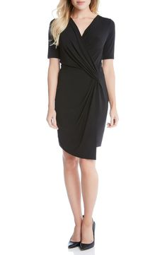 Main Image - Karen Kane Faux Wrap Dress- An LBD that goes easily from office to after hours is cut from soft jersey in a famously flattering silhouette nipped in with crisscrossed pleated panels.