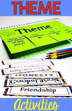 Theme activities in the classroom make identifying theme and finding theme easy and fun for kids. If you are teaching theme in reading and literature, these foldables and lessons are perfect for and grades and middle school, too! 4th Grade Reading, Guided Reading, Teaching Reading, Learning, Reading Lessons, Reading Strategies, Reading Skills, Reading Themes, Reading Centers