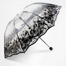Moda Rosa Bonito Guarda-chuva Transparente Japão das Mulheres Folding Chuvas Chuva Mulheres parapluie parasol Do Laço do sexo feminino capa de Chuva(China (Mainland))