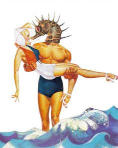 Original Mixed Media Collage Art on Paper Seahorse by dadadreams