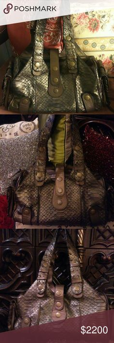 RARE AND BEAUTIFUL PYTHON CHLOE Gorgeous and in EXCELLENT used Condition! Code is 01-05-53. Soft brushed Metallic Bronze in color. Interior in great condition. Chloe Bags
