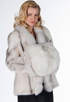 Blue Fox Fur Coat and Blue Fox Muff - I like this without the hand warmer muff.