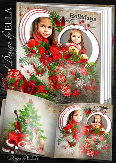 Christmas photo album psd template with Christmas toys, gifts and Christmas tree branches