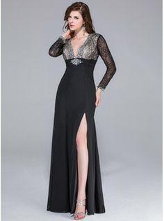 Sheath/Column V-neck Floor-Length Chiffon Lace Prom Dress With Beading Split Front (008025421) - JJsHouse