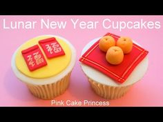 Chinese New Year Cupcakes - Miniature Red Envelopes & Oranges How to by Pink Cake Princess - YouTube