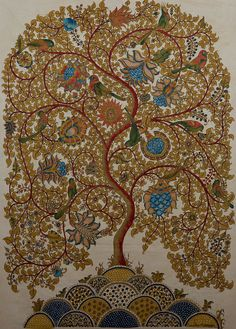 dwaraka kalamkari tree of life | Tree of Life, Mordants & natural dyes on cotton cloth,56x40 in SOLD