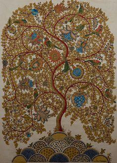 dwaraka kalamkari tree of life | Tree of Life, Mordants & natural dyes on cotton cloth,56x40 in SOLD