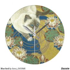 <Blue bird> Beatiful siamese cat and water lilies large clock by Satoi Oguma.