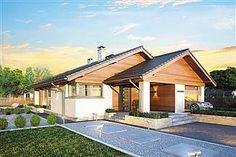 Parterowy dom z zadaszonym tarasem i garażem - Studio Atrium Atrium, Architectural House Plans, Porch Flooring, My House Plans, Gable Roof, Tuscan House, House Roof, Home Fashion, Studio