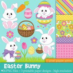 Easter Bunny - Clip art and Digital paper set on Etsy, $6.00