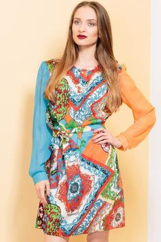 """""""I'm not afraid"""" dress by KITES AND BITES - bold printed outfit - colourful floral print - orange, blue, green, red details Chic Outfits, Summer Outfits, Summer Dresses, Jumpsuit Dress, Belted Dress, Night Looks, Party Looks, Fashion Prints, Dress For You"""
