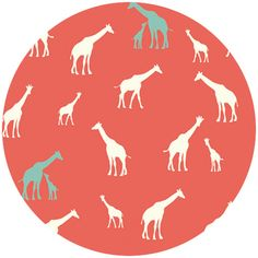 """Jay-Cyn Designs for Birch Fabrics, Serengeti, KNIT, Giraffe Fam Coral   Fabric is sold by the 1/2 Yard. For example, if you would like to purchase 1 Yard, you would enter 2 in the Qty. box at Checkout. Yardage is cut in one continuous piece.  Examples:  1/2 yard = 1 1 yard = 2 1 1/2 yards = 3 2 yards = 4  1/2 Yard Measures 18"""" x 42""""    Fiber Content: 100% Organic Cotton Knit  5.7 oz. gauge  Hover over image for a larger, better view."""