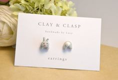 Grey bunny rabbit mismatch head and tail earrings by Clay & Clasp
