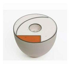 White Vessel with terracotta trim by Tjok Dessayvage. Chiffon, Contemporary Ceramics, Terracotta, Orange, Yellow, Porcelain, Pottery, Clay, Ceramic Artists