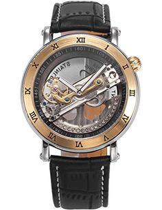 AMPM24 Herren Armbanduhr Analog Mechanisch Skelett Uhrgehäuse Schwarz Leder Band PMW415 - http://uhr.haus/ampm24-2/ampm24-herren-armbanduhr-analog-mechanisch-band