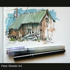 Another Painting from Milton's farm. This is the shed from the back side. Just…