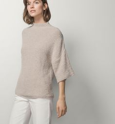 SHORT-SLEEVED SWEATER WITH A FUNNEL COLLAR - Business selection - Knitwear - WOMEN - Spain - Massimo Dutti
