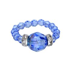 Crystal Avenue Silver-Plated Crystal Bead Stretch Ring - Made with Swarovski Crystals, Women's, Blue