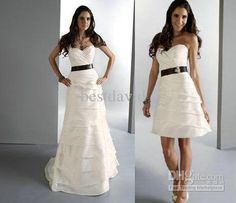 Two Piece Detachable Skirt Wedding Dress A-Line Strapless Tiered Layered Long Taffeta 11066...I REALLY LIKE THIS ONE!! :)