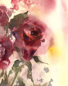 Roses Watercolor Painting Art Print Red Green di CanotStopPrints