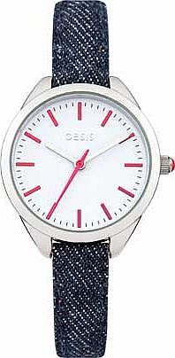 Oasis Ladies Denim Strap Watch This Oasis watch is currently on trend with a skinny denim strap and simple dial. ideal for any fun loving girl. Model number B1431. Watch features: White easy to read dial. Metal case. Blue fabric st http://www.comparestoreprices.co.uk/ladies-watches/oasis-ladies-denim-strap-watch.asp