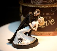 Batman (unmasked) and his bride Custom Wedding Cake Topper