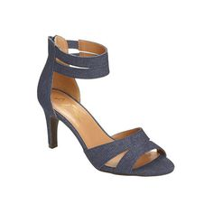 You're seeing double with the by Aerosoles Proclamation Ankle Strap Heel -- double ankle strap and a double band effect across the toe. This high-fashion s… Denim Fabric, Ankle Strap Heels, Shoes Outlet, Shoes Online, Kitten Heels, Peep Toe, High Heels, Sandals, Leather