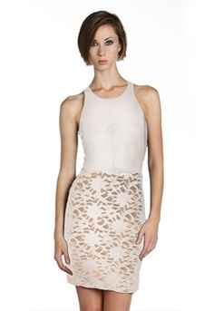 Bailey 44 Madrid Dress in White is all about leather and lace.  Gorgeous combo!